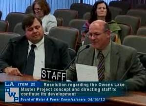 (l-r) Bill Van Waggoner, Owens Lake Mgr. and Water Operations Director Martin Adams at Commission meeting.