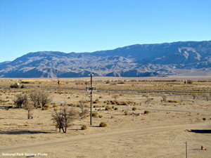 Looking east from the visitor's center at Manzanar National Historic Site. The floor of the Owens Valley, along with the Inyo Mountains in the background, are visible. But this view could be destroyed by a massive solar energy generating station, proposed by the Los Angeles Department of Water and Power. National Park Service Photo