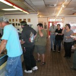 Line of WWP supporters at Carl's Jr.