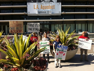 Protestors outside LADWP headquarters in Los Angeles.  Photo by Jane McDonald