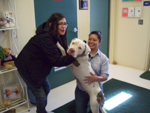 Bentley and his family, Stephanie Diaz and Cynthia Gama.  (Photo by Sage Lovelace-Whitmore Shelter)