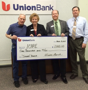 Photo by Union Bank - Pictured are ICARE President Ted Schade, along with bankers Judy Haycook, Eric Butner and Mark Flippin.