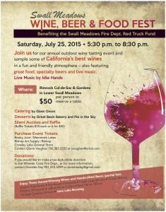 Swall Meadows Wine, Beer & Food Fest Flyer