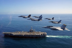 151020-N-ZZ999-001 PACIFIC OCEAN (Oct. 19, 2015) U.S. Naval aircraft and aircraft from the Chilean Air Force participate in a fly-by adjacent to aircraft carrier USS George Washington (CVN 73). UNITAS 2015, the U.S. Navy's longest running annual multinational maritime exercise, is part of the Southern Seas deployment planned by U.S. Naval Forces Southern Command/U.S. 4th Fleet. This 56th iteration of UNITAS is conducted in two phases: UNITAS Pacific, hosted by Chile, Oct. 13-24, 2015 and UNITAS Atlantic, hosted by Brazil scheduled for November. (U.S. Navy photo by Lt. j.g. David Babka/Released)