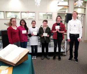 Last Person Standing from each school district (left to right): Margee Neer of Altrusa, Angelica Mendoza of Lo-Inyo, Clarissa Castro of Owens Valley, Tyler Mahlum-Hambleton of Big Pine, Hana Hogan of Round Valley and Ace Selters of Home Street