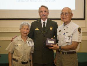 Volunteers Ann and Saburo Sasaki with National Park Service Director Jon Jarvis, August 9, 2016, in Washington, DC.