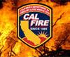 CAL FIRE logo against flames