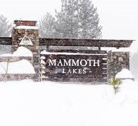 Mammoth Lakes sign in snowstorm- Dakota Snider
